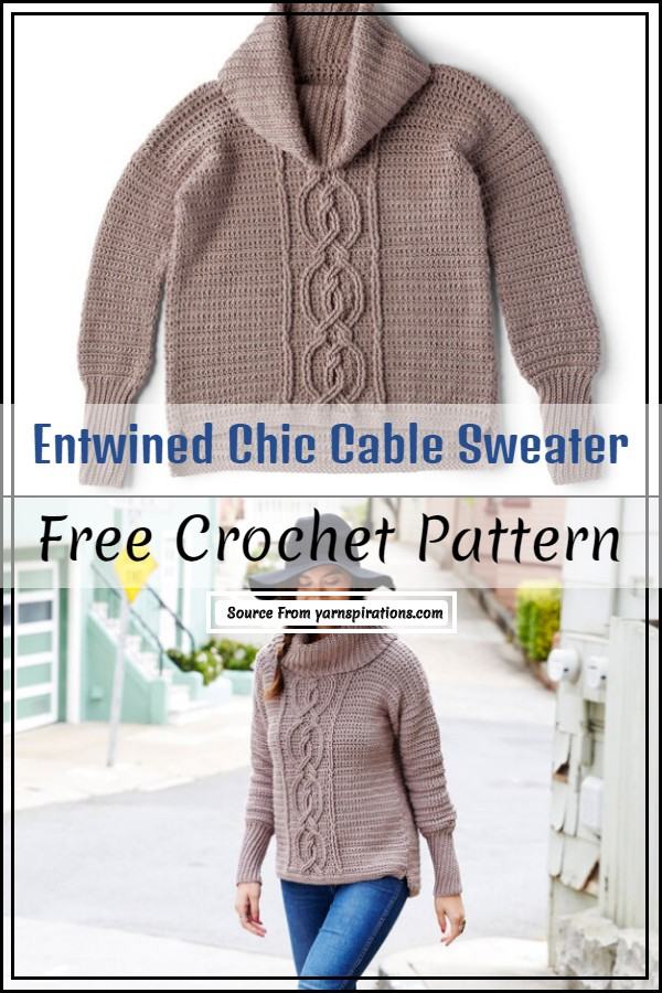 Entwined Chic Cable Crochet Sweater pattern
