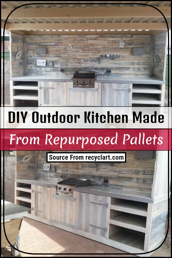 DIY Outdoor Kitchen Made From Repurposed Pallets