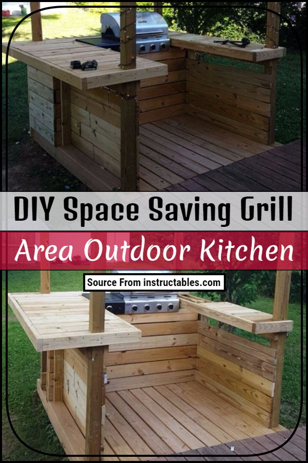 DIY Space Saving Grill Area Outdoor Kitchen