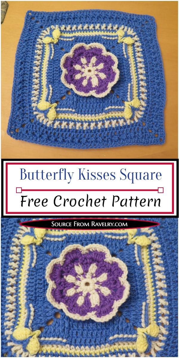 Free Crochet Butterfly Kisses Square Pattern