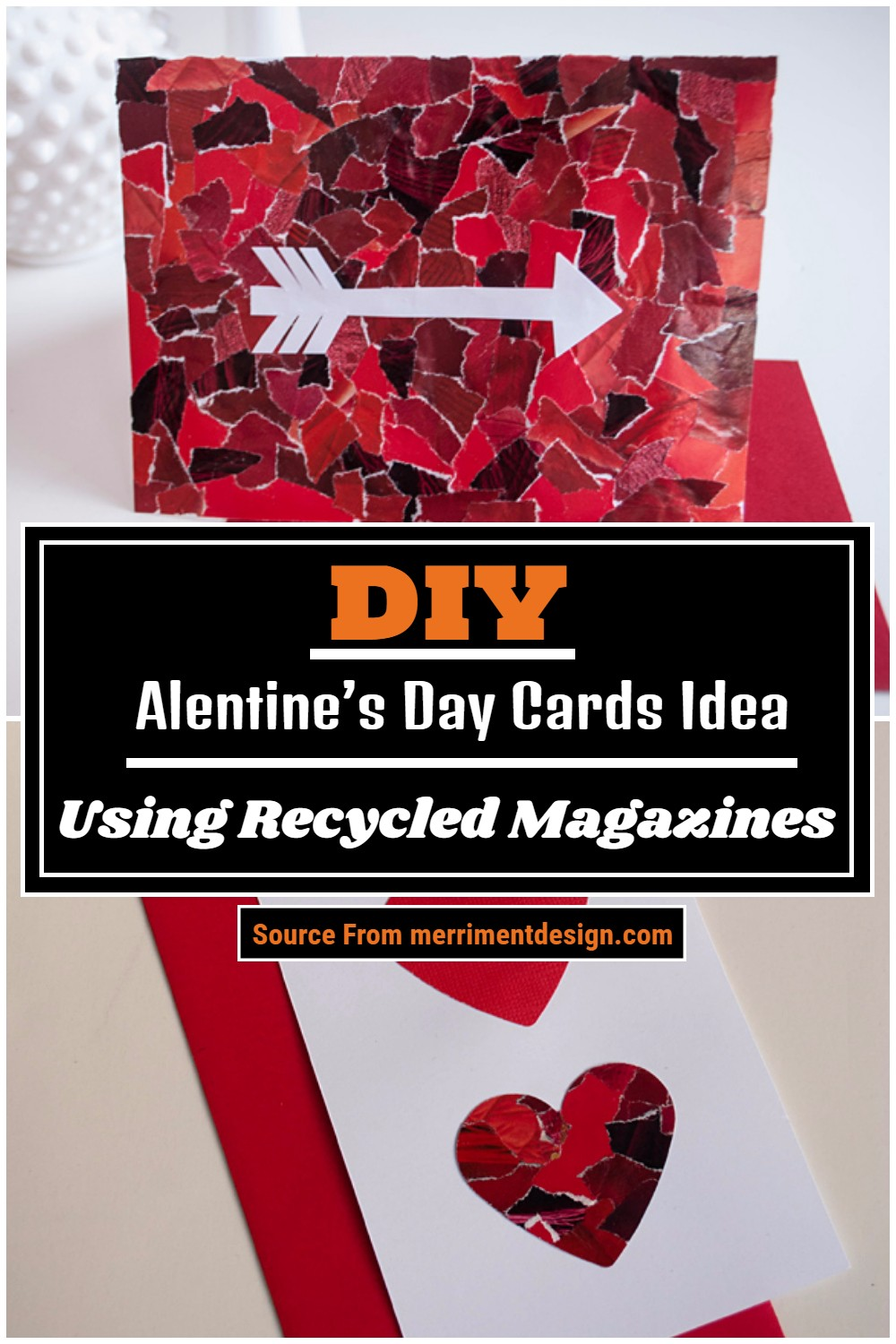 Alentine's Day Cards Idea Using Recycled Magazines