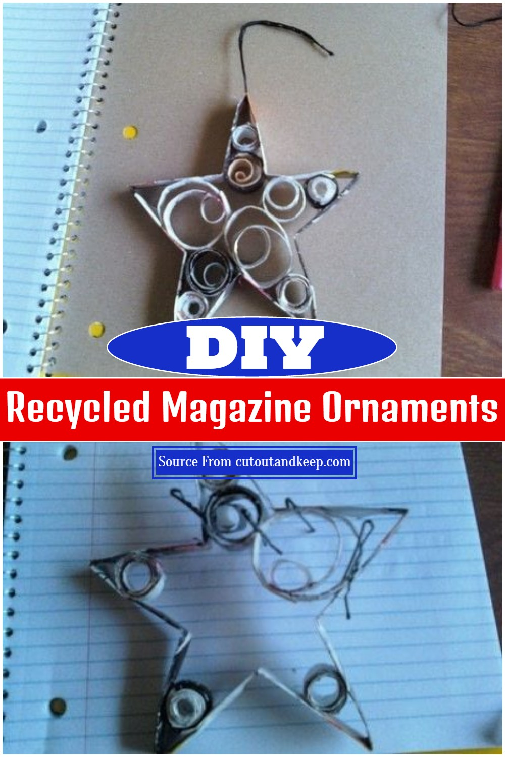DIY Recycled Magazine Ornaments