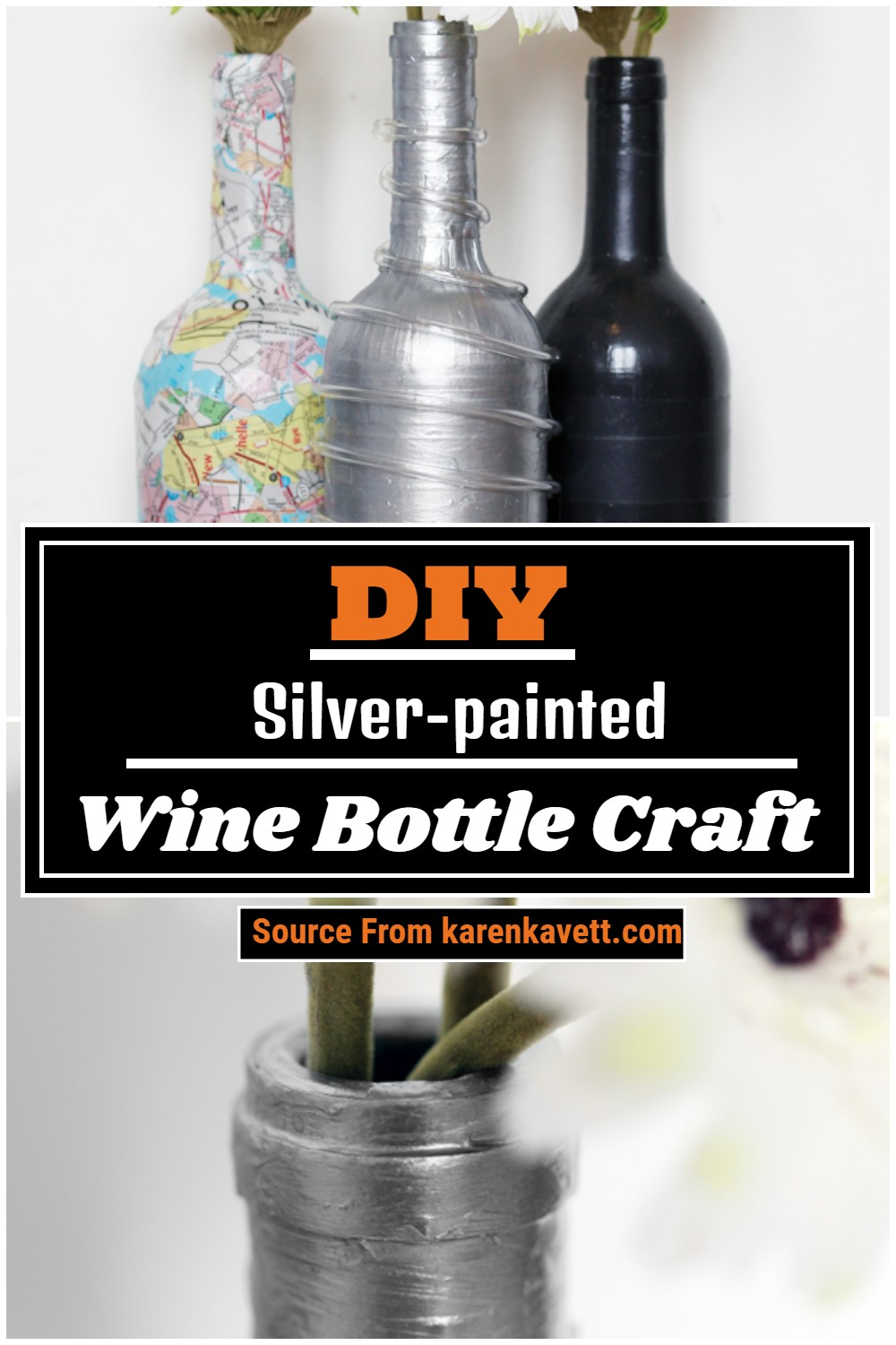 DIY Silver-painted Wine Bottle Craft