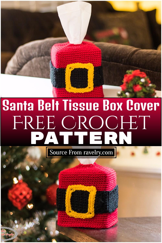 Free Santa Crochet Belt Tissue Box Cover Pattern