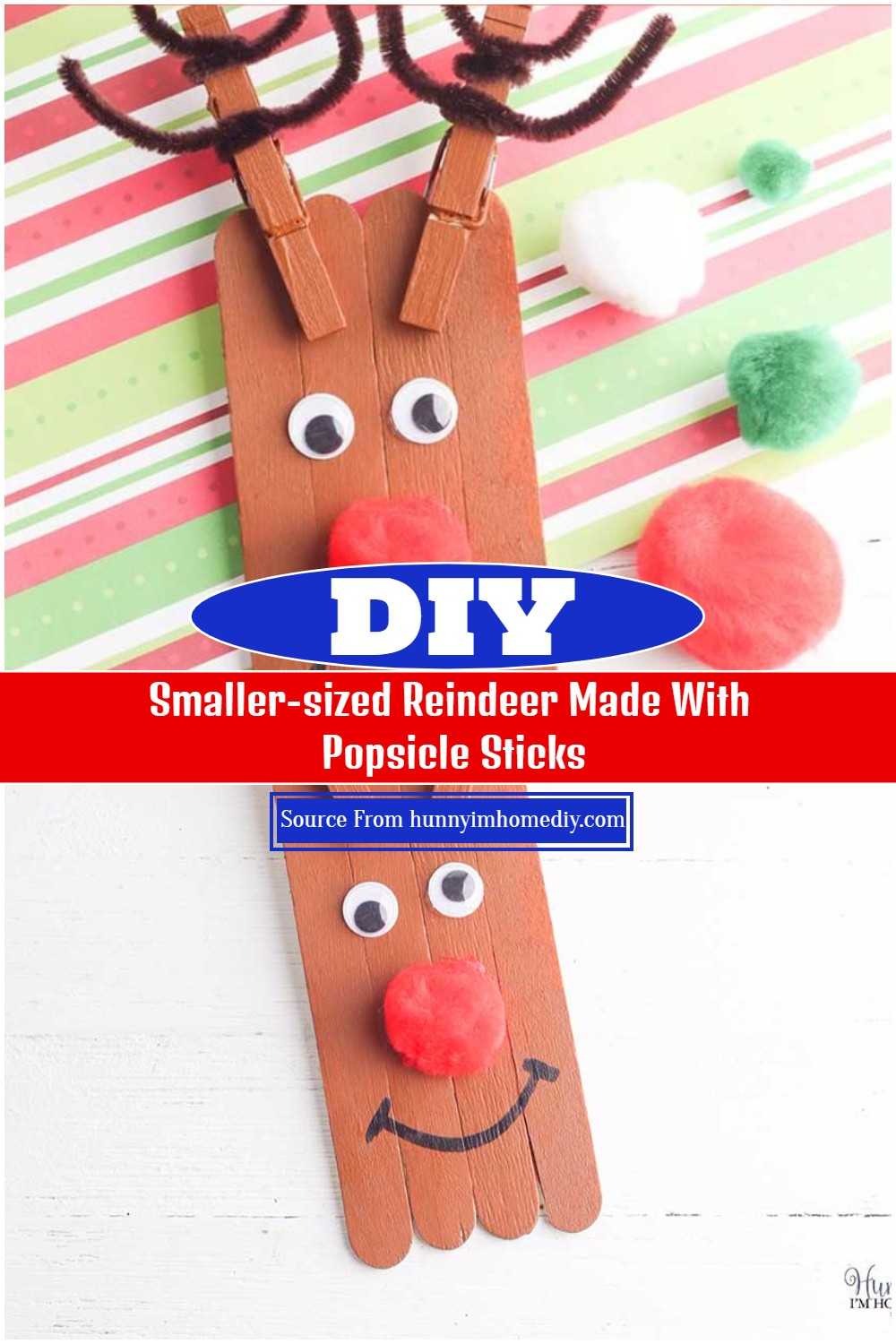 Smaller-sized Reindeer Made With Popsicle Sticks