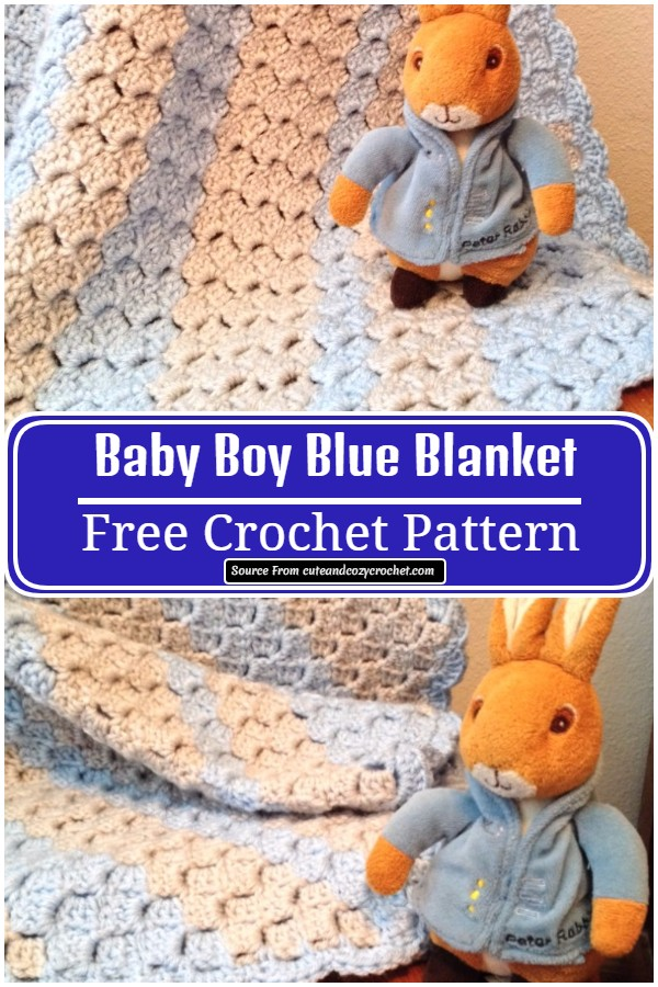 Free Crochet Blue Blanket For Your Baby