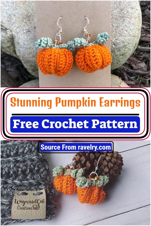 Stunning Crochet Pumpkin Earrings Pattern