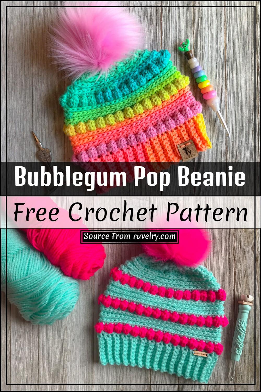 Bubblegum Pop Crochet Beanie Free Pattern