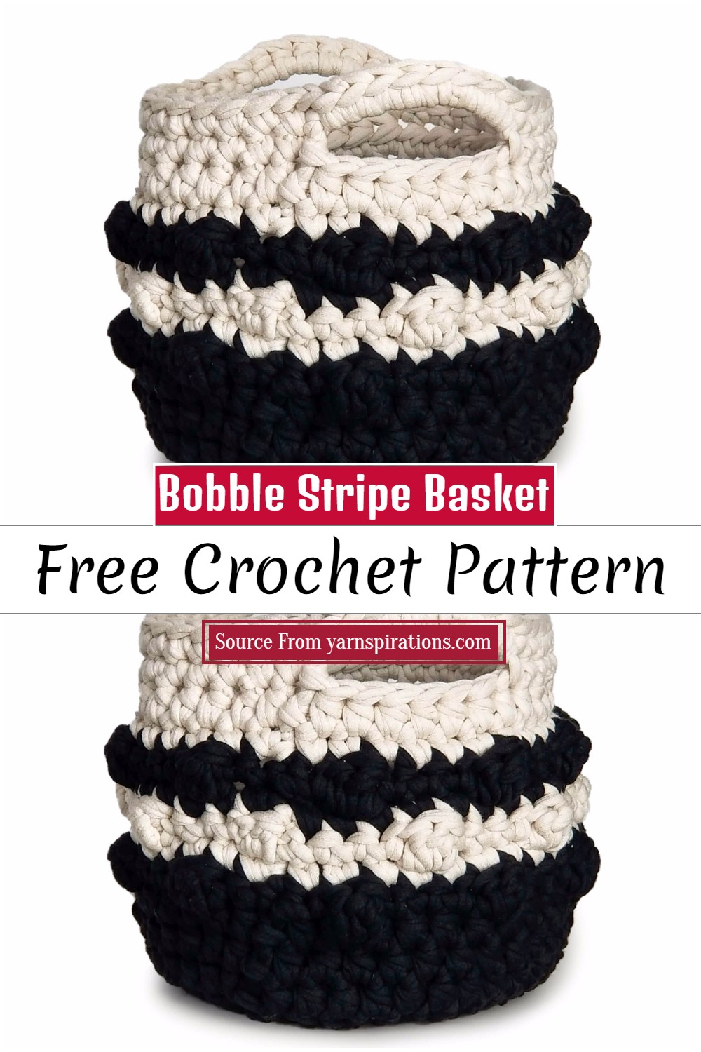 Crochet Bobble Stripe Basket Pattern