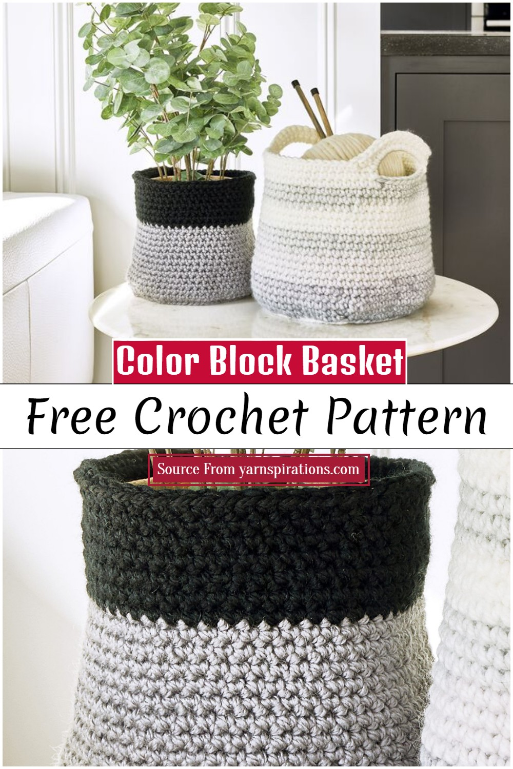 Crochet Color Block Basket Pattern