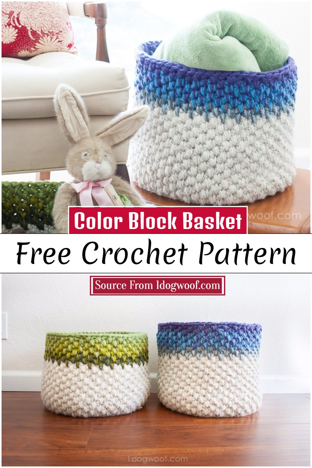 Crochet Color Block Crochet Basket Pattern