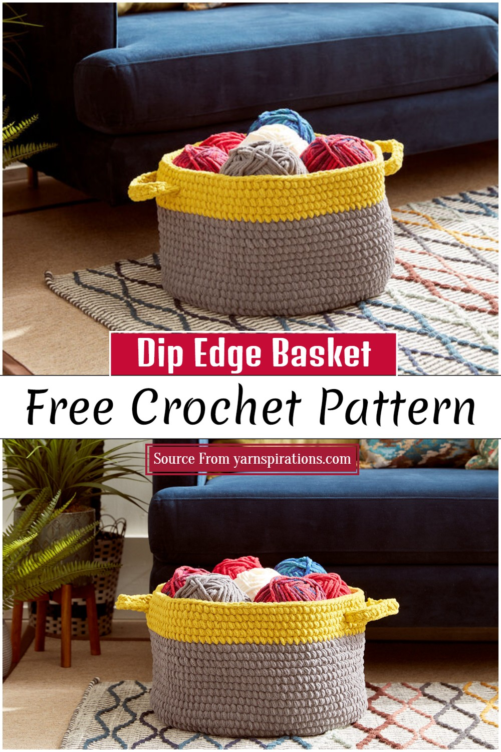 Crochet Dip Edge Basket Pattern