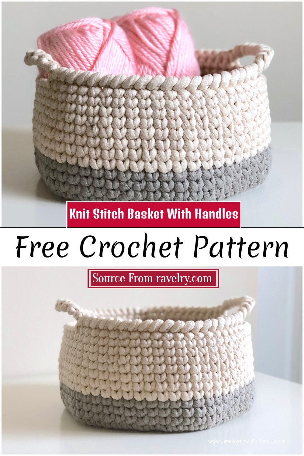 Crochet Knit Stitch Basket With Handles Pattern