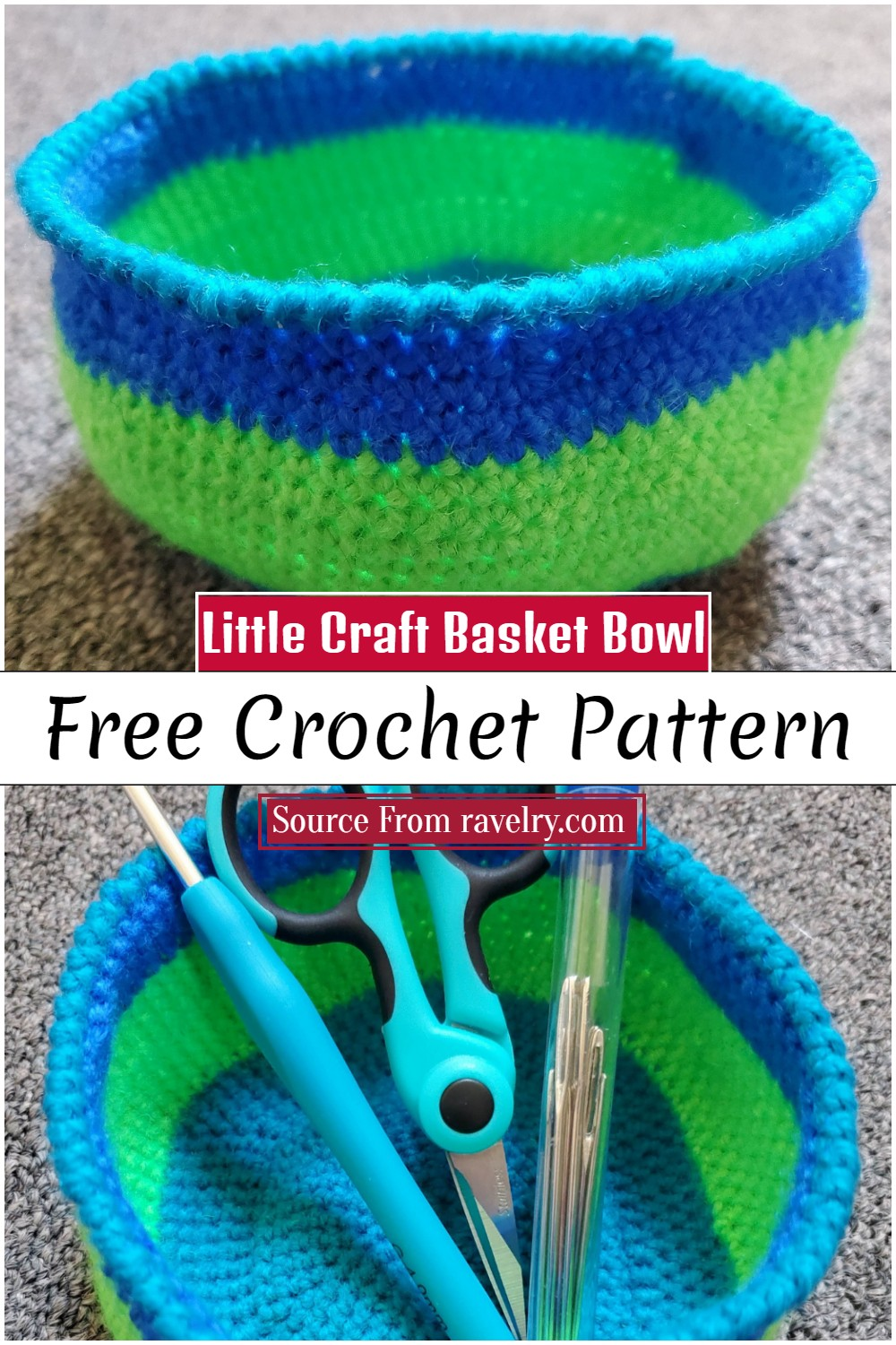 Crochet Little Craft Basket Bowl Pattern