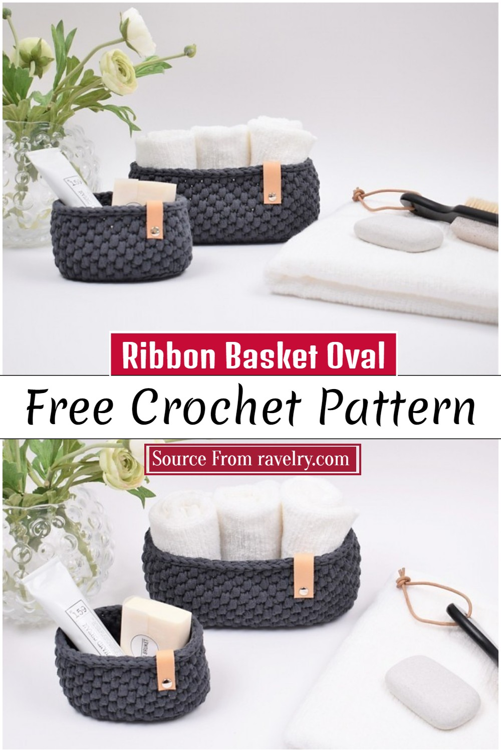 Crochet Ribbon Basket Oval Pattern 1