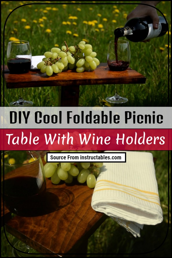 DIY Cool Foldable Picnic Table With Wine Holders