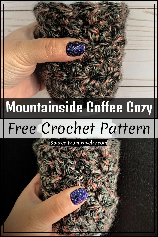 Free Crochet Mountainside Coffee Cozy Pattern