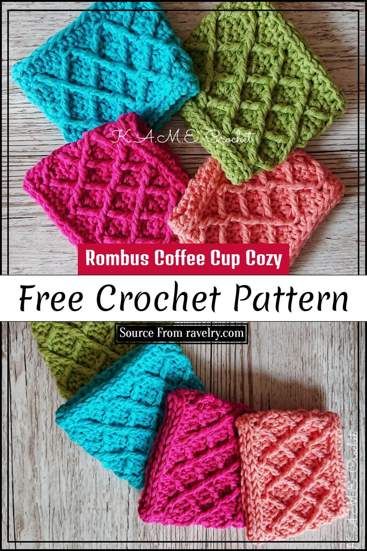Free Crochet Rombus Coffee Cup Cozy Pattern