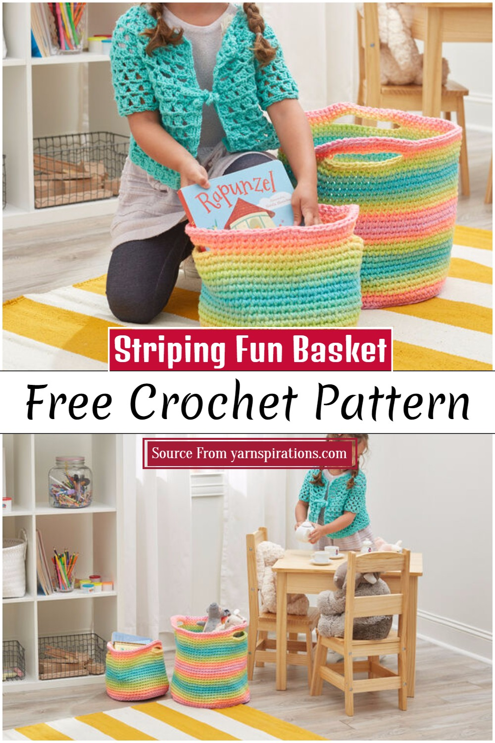 Free Crochet Striping Fun Basket Pattern