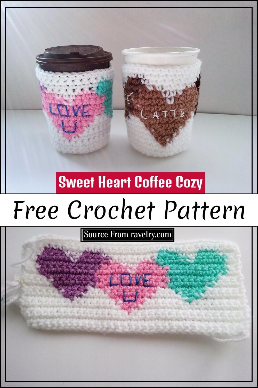 Free Crochet Sweet Heart Coffee Cozy Pattern