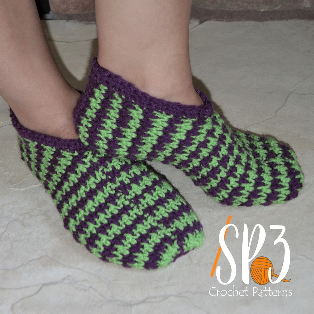 Crochet Comfy Houndstooth Slippers Pattern