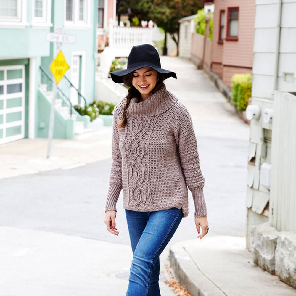 Crochet Entwined Chic Cable Sweater Pattern