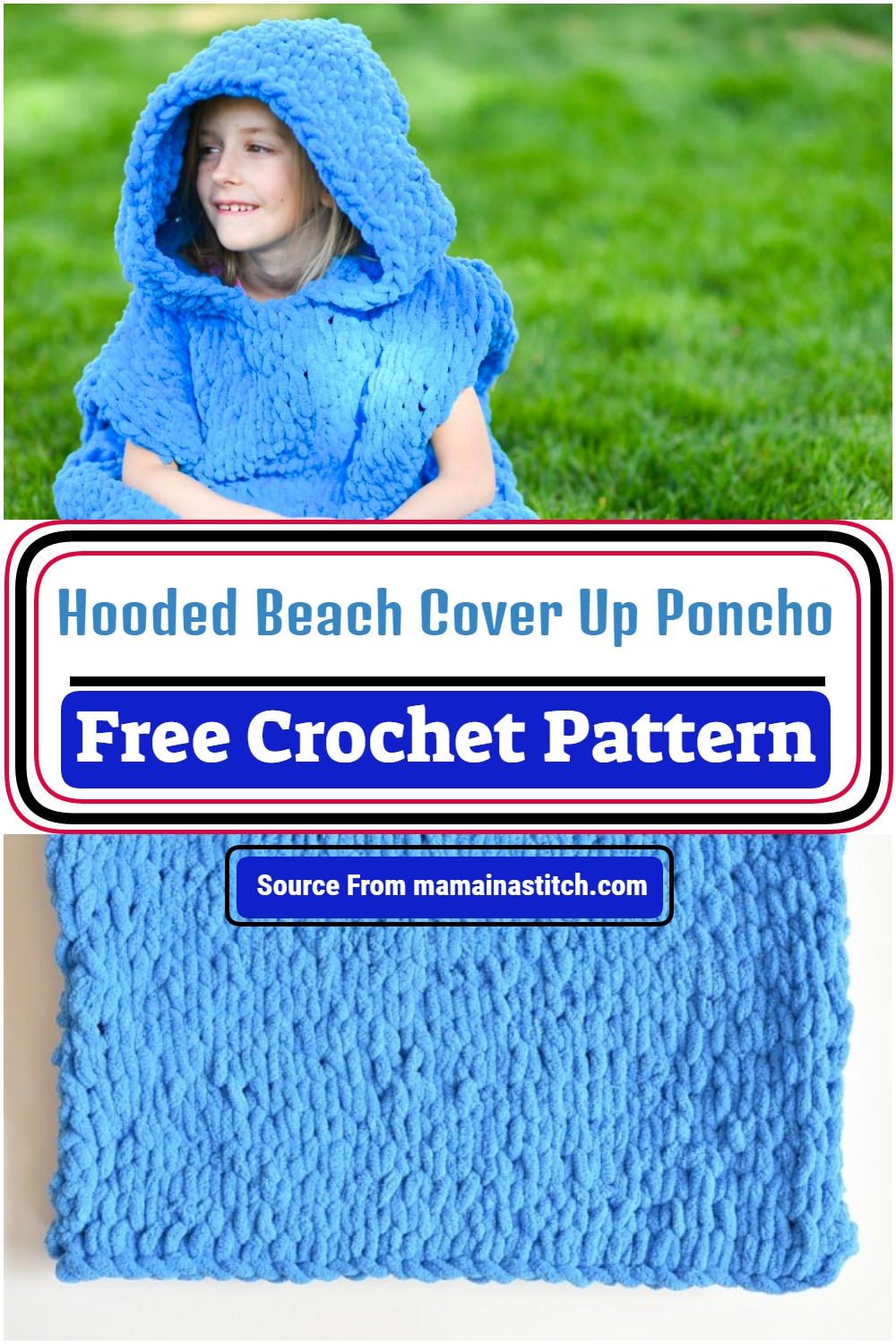 Crochet Hooded Beach Cover Up Poncho Pattern