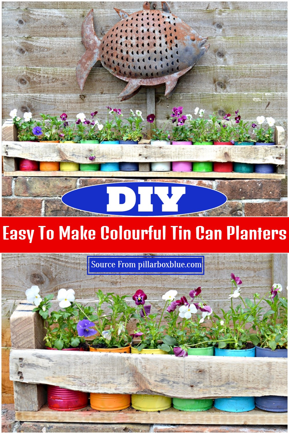 DIY Easy To Make Colourful Tin Can Planters