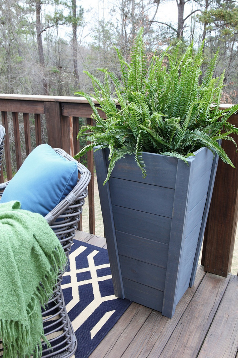 DIY Painted Wood Tall Planter