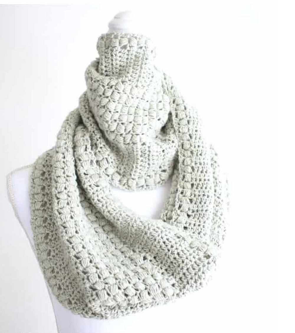 Enchanted Moments Puff Stitch Infinity Scarf Pattern