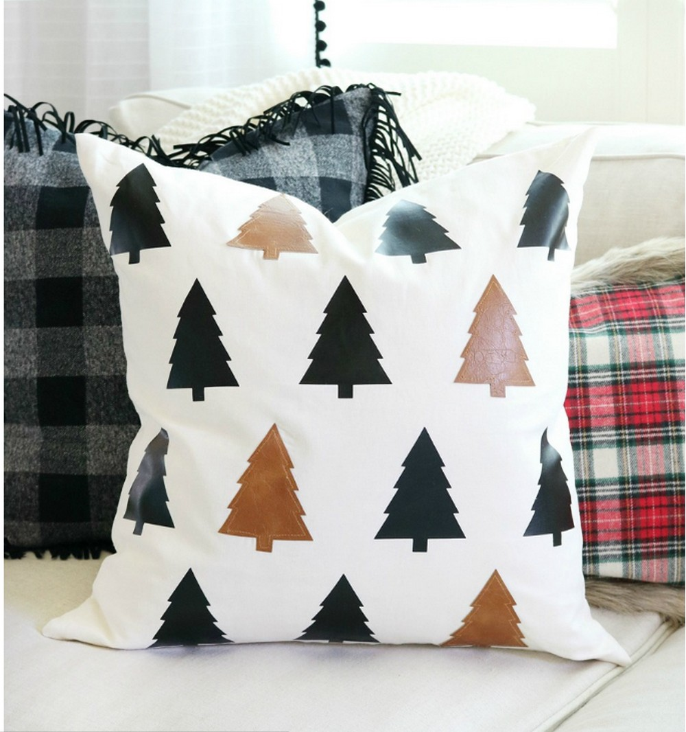 Faux Leather Christmas Tree DIY Pillow