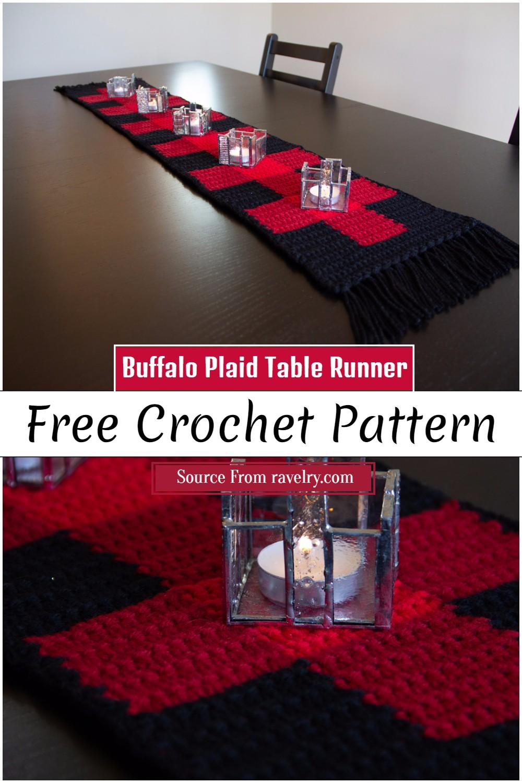Free Crochet Buffalo Plaid Table Runner