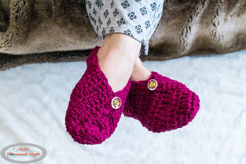 Free Crochet Button Slippers From Square