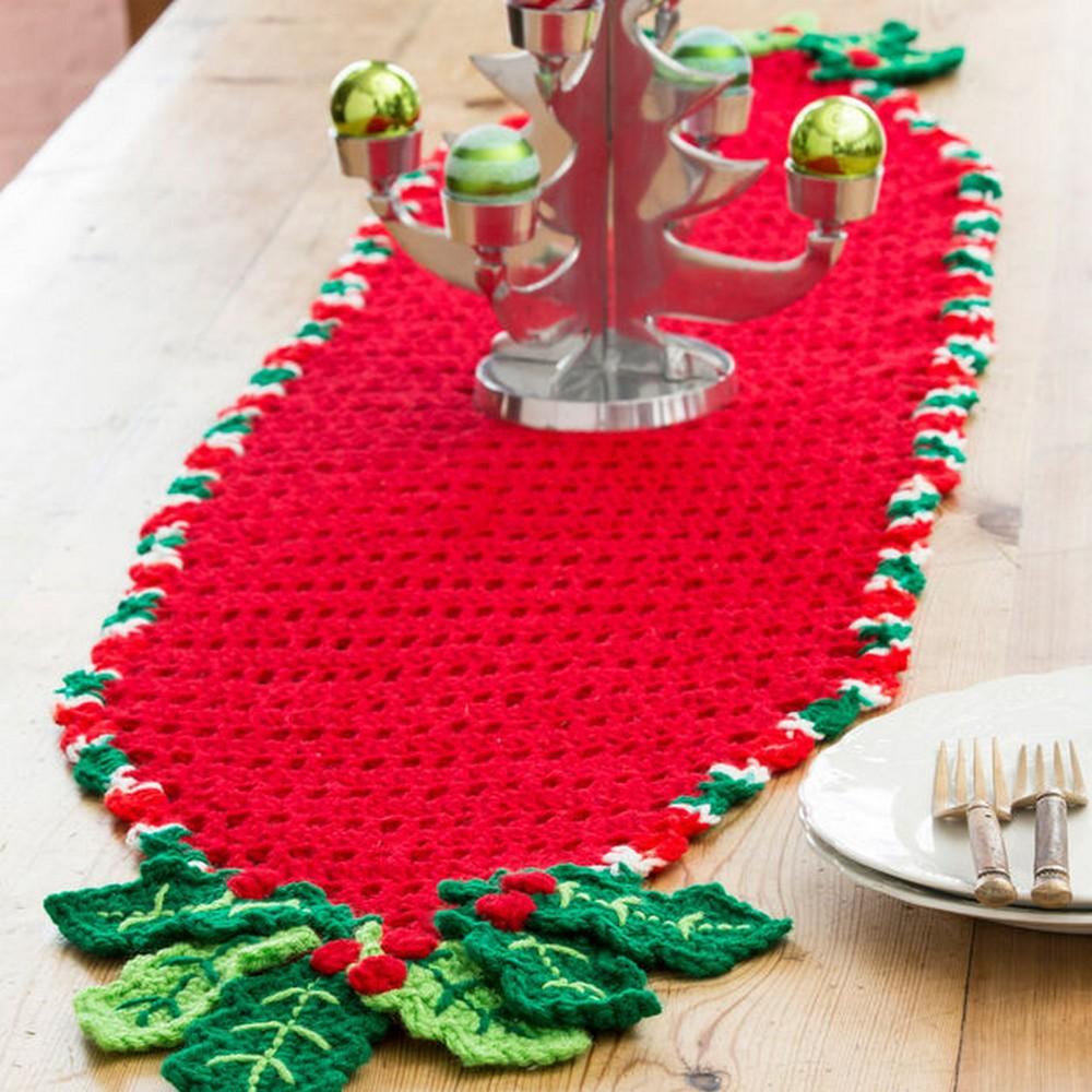 Free Crochet Holly Trim Table Runner