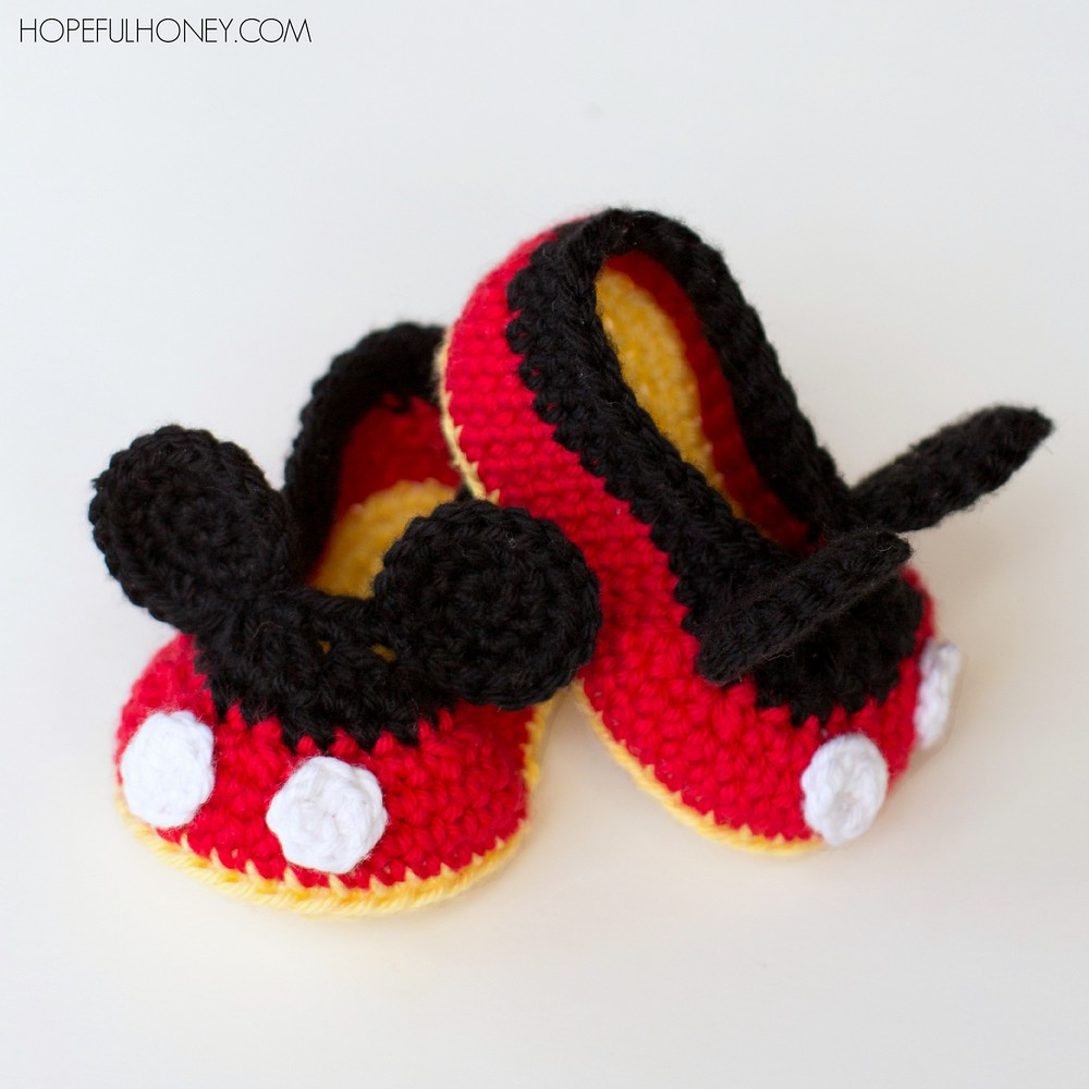 Free Crochet Mickey Mouse Baby Booties