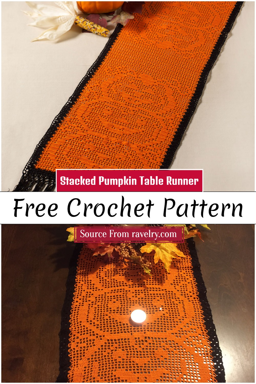 Free Crochet Stacked Pumpkin Table Runner