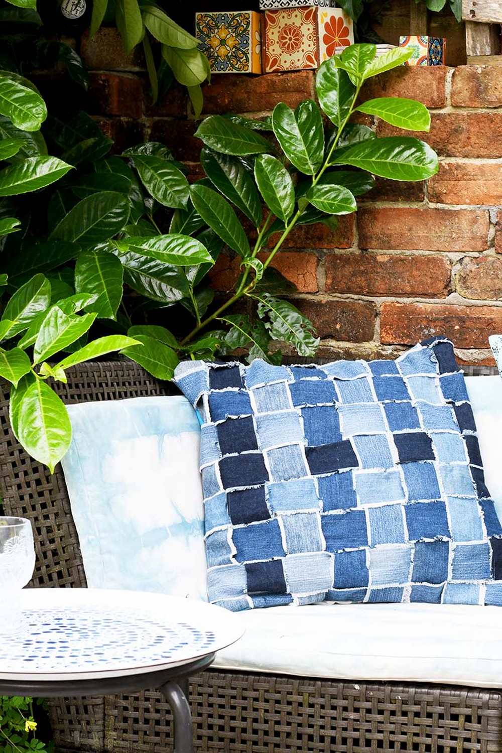 How To Make An Upcycled Woven Denim Pillow