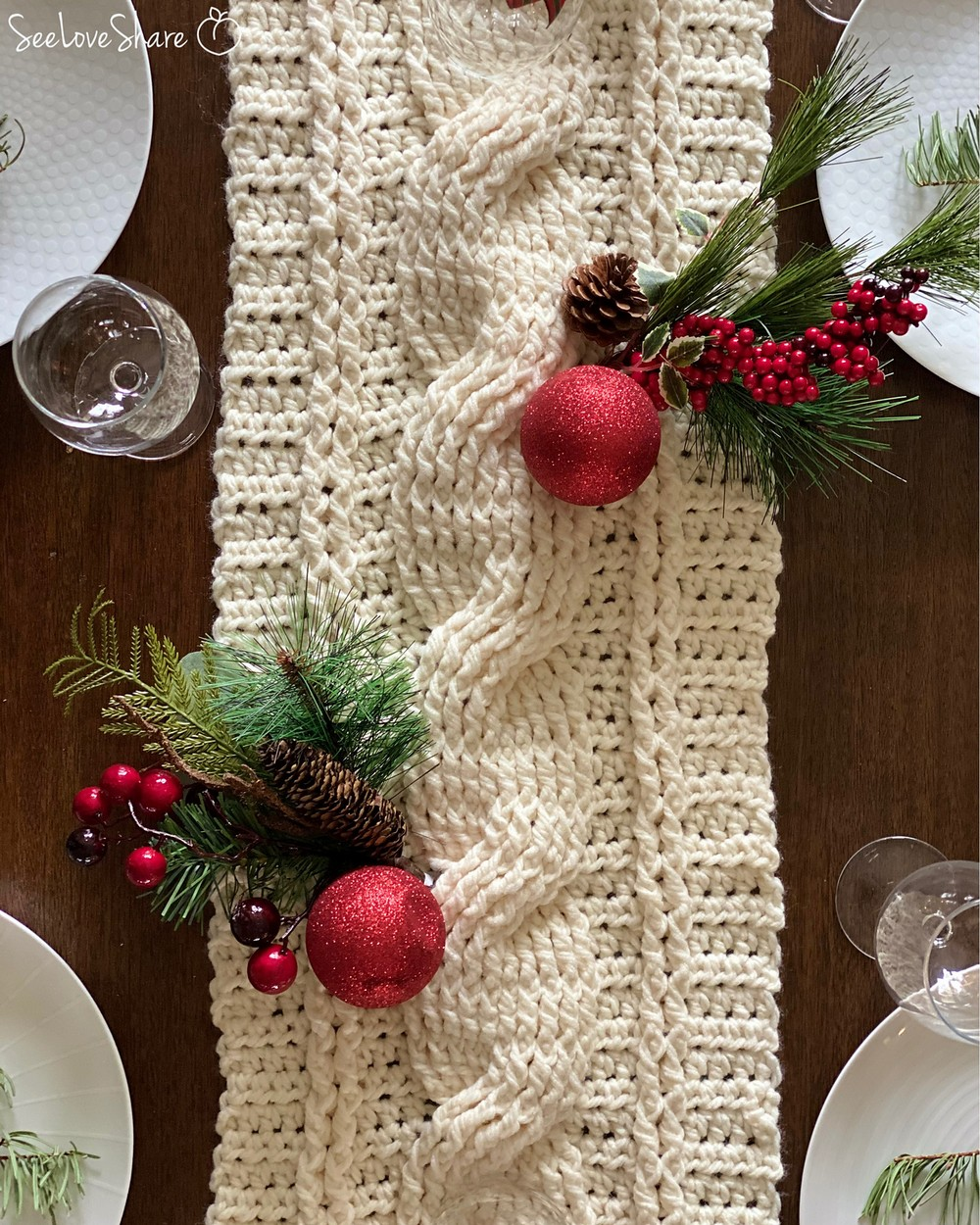 Rustic Crochet Cable Table Runner