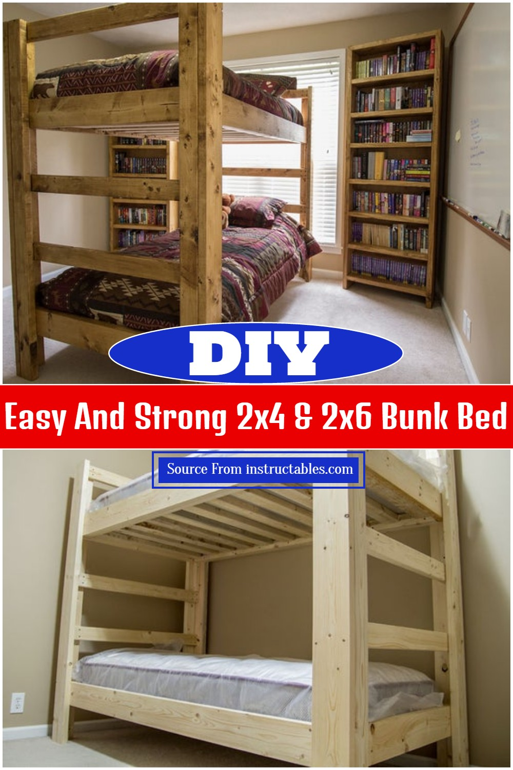 DIY Easy And Strong 2x4 & 2x6 Bunk Bed