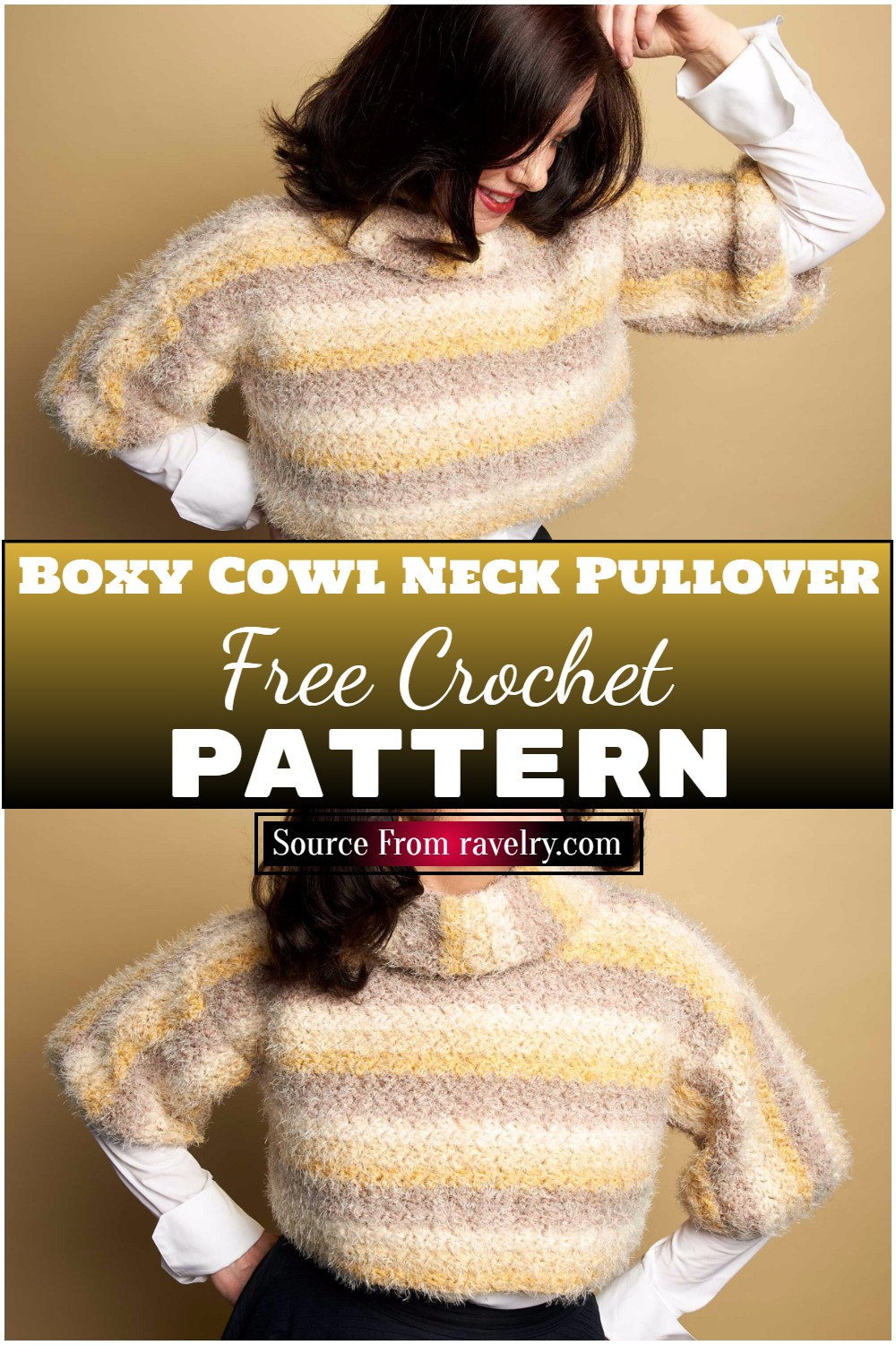 Easy To Make Boxy Cowl Neck Crochet Pullover Pattern