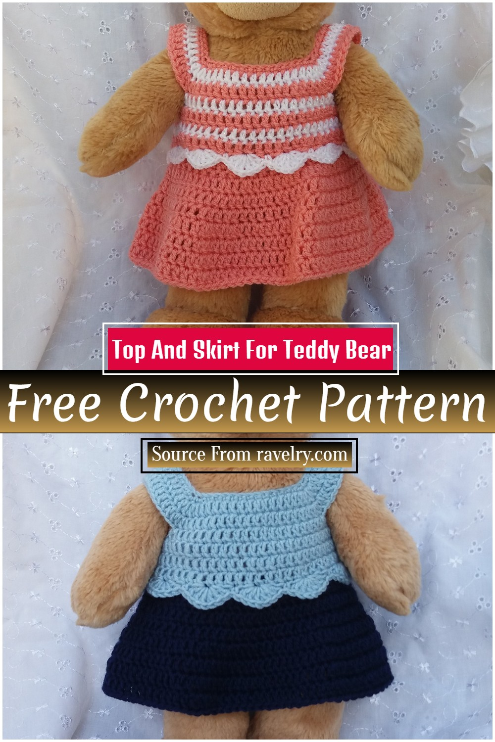 Free Crochet Top And Skirt Pattern For Teddy Bear
