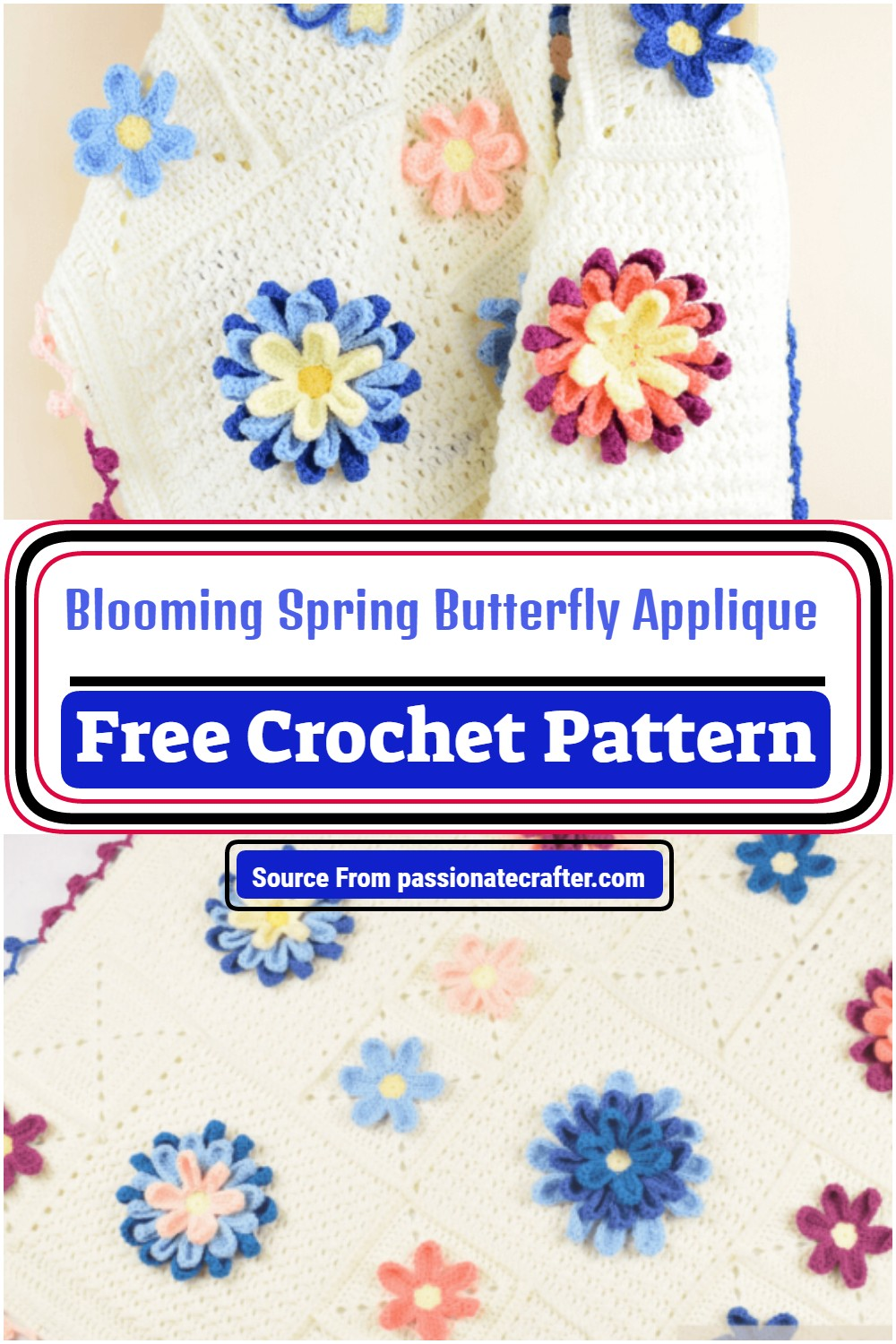 Blooming Spring Butterfly Applique Pattern