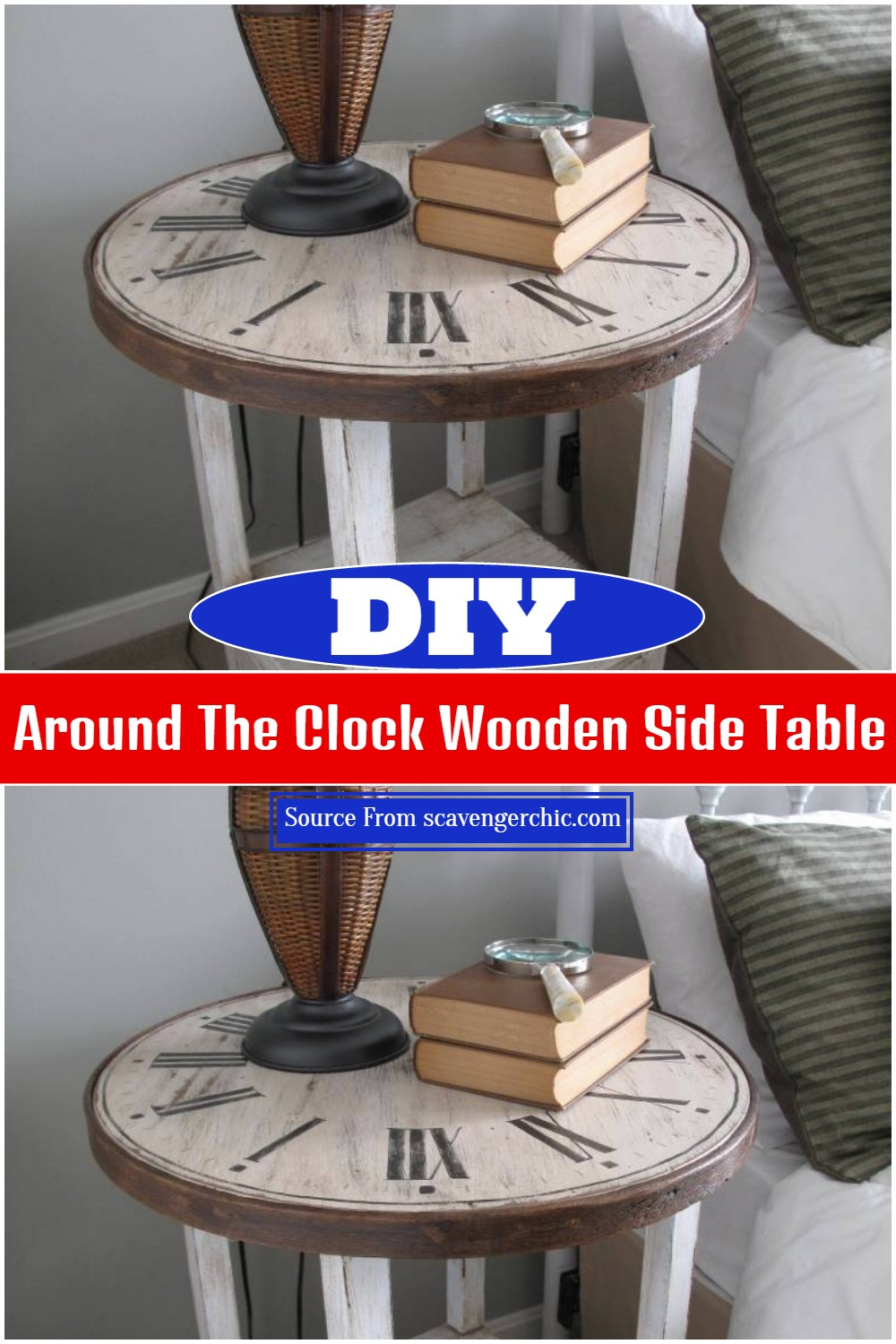 DIY Around The Clock Wooden Side Table