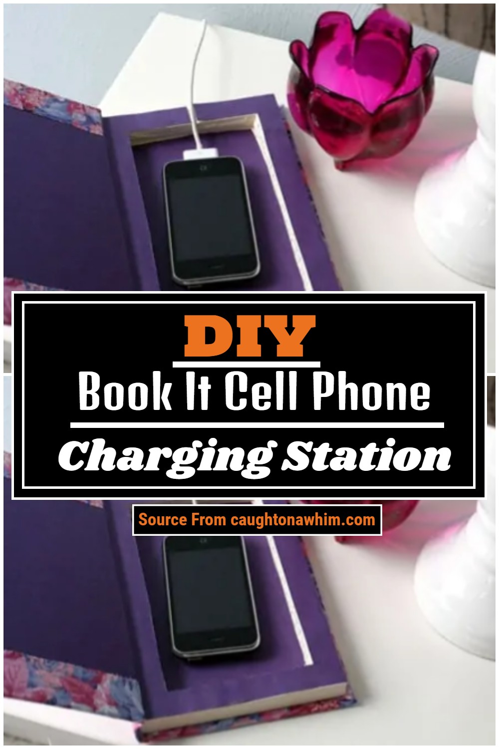 DIY Book It Cell Phone Charging Station