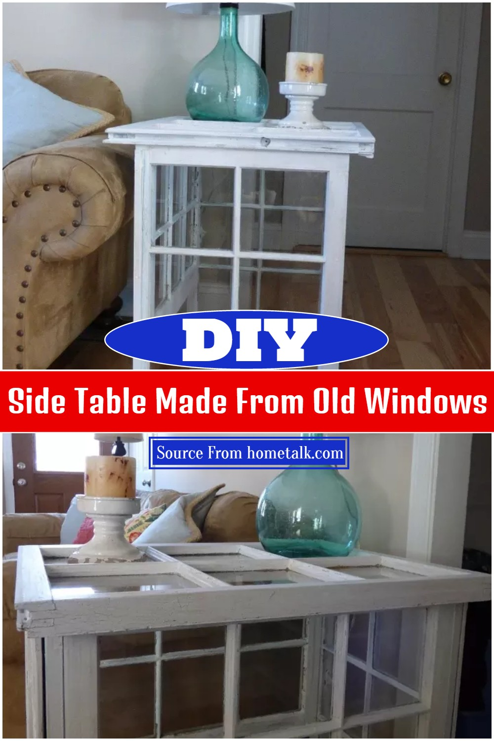 DIY Side Table Made From Old Windows