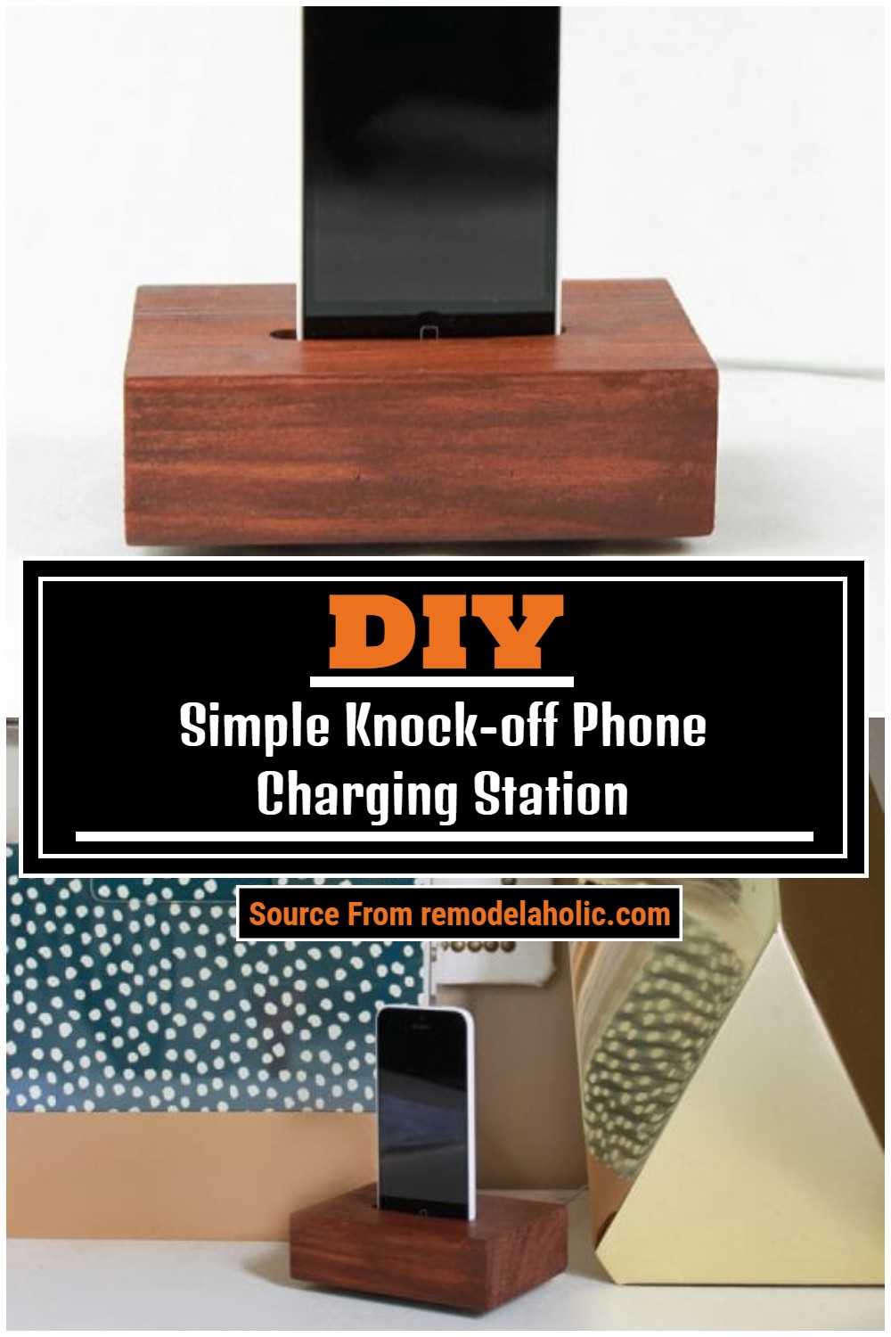 DIY Simple Knock-off Phone Charging Station