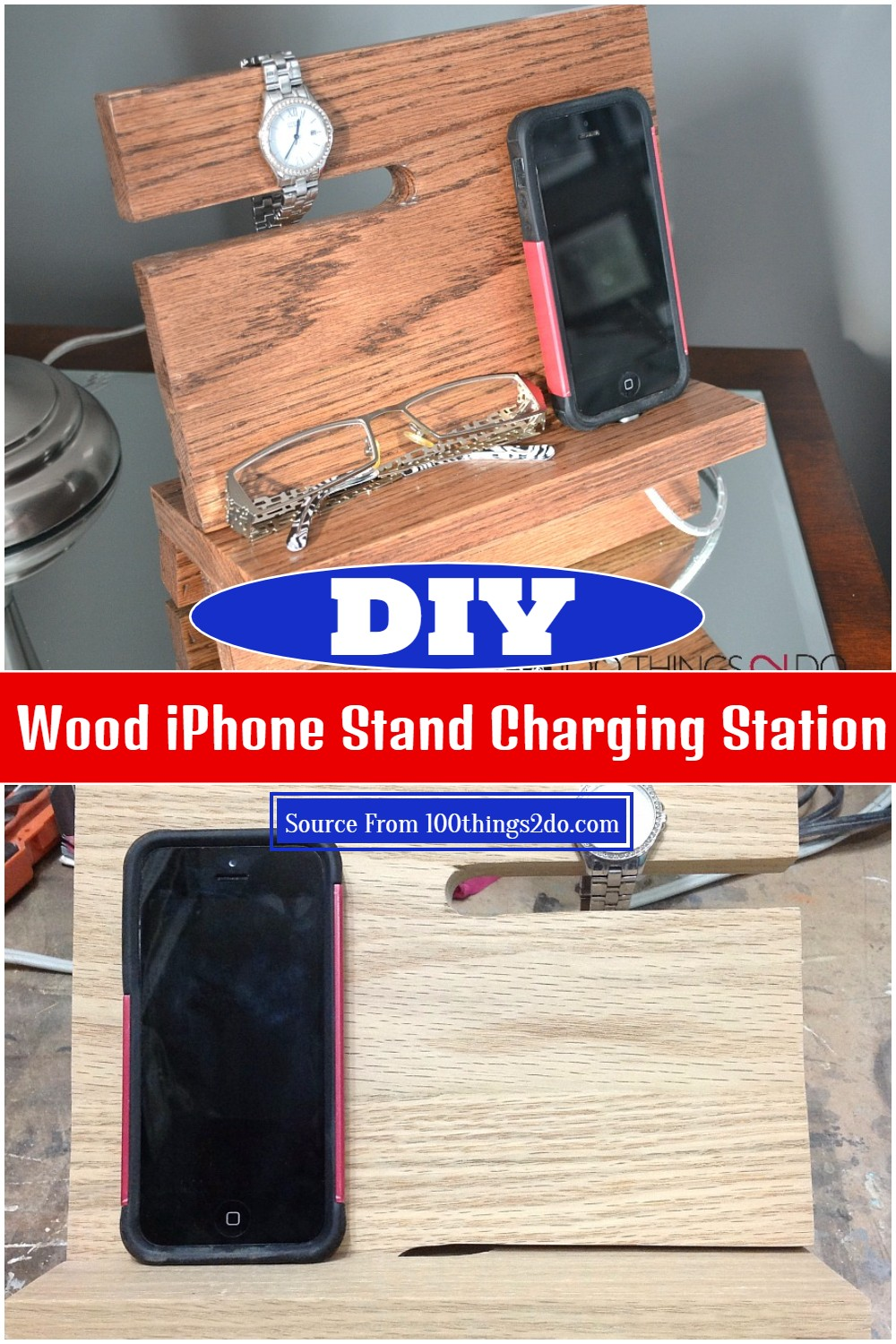 DIY Wood iPhone Stand Charging Station