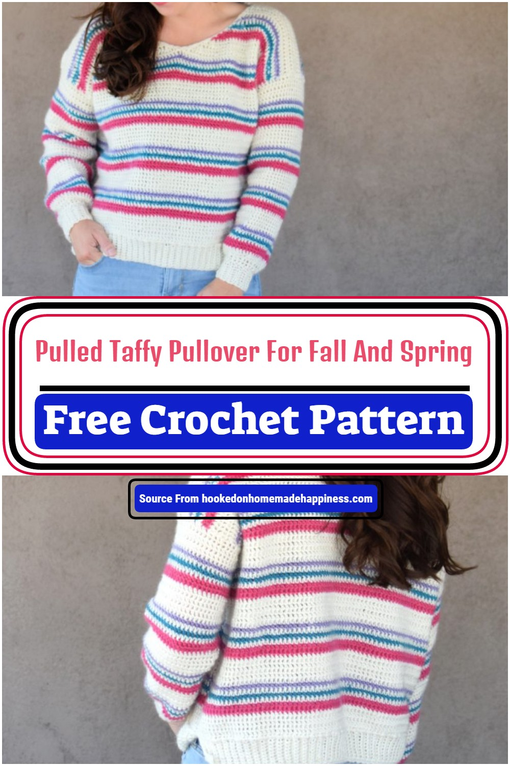 Pulled Taffy Crochet Pullover For Fall And Spring