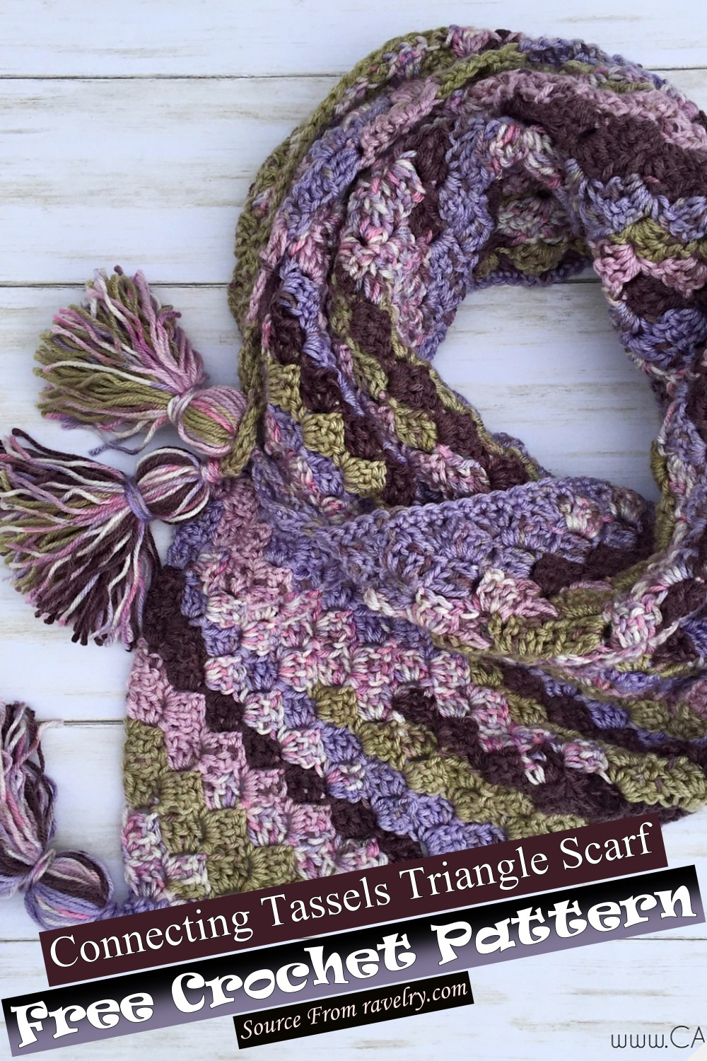 Free Crochet Connecting Tassels Triangle Scarf