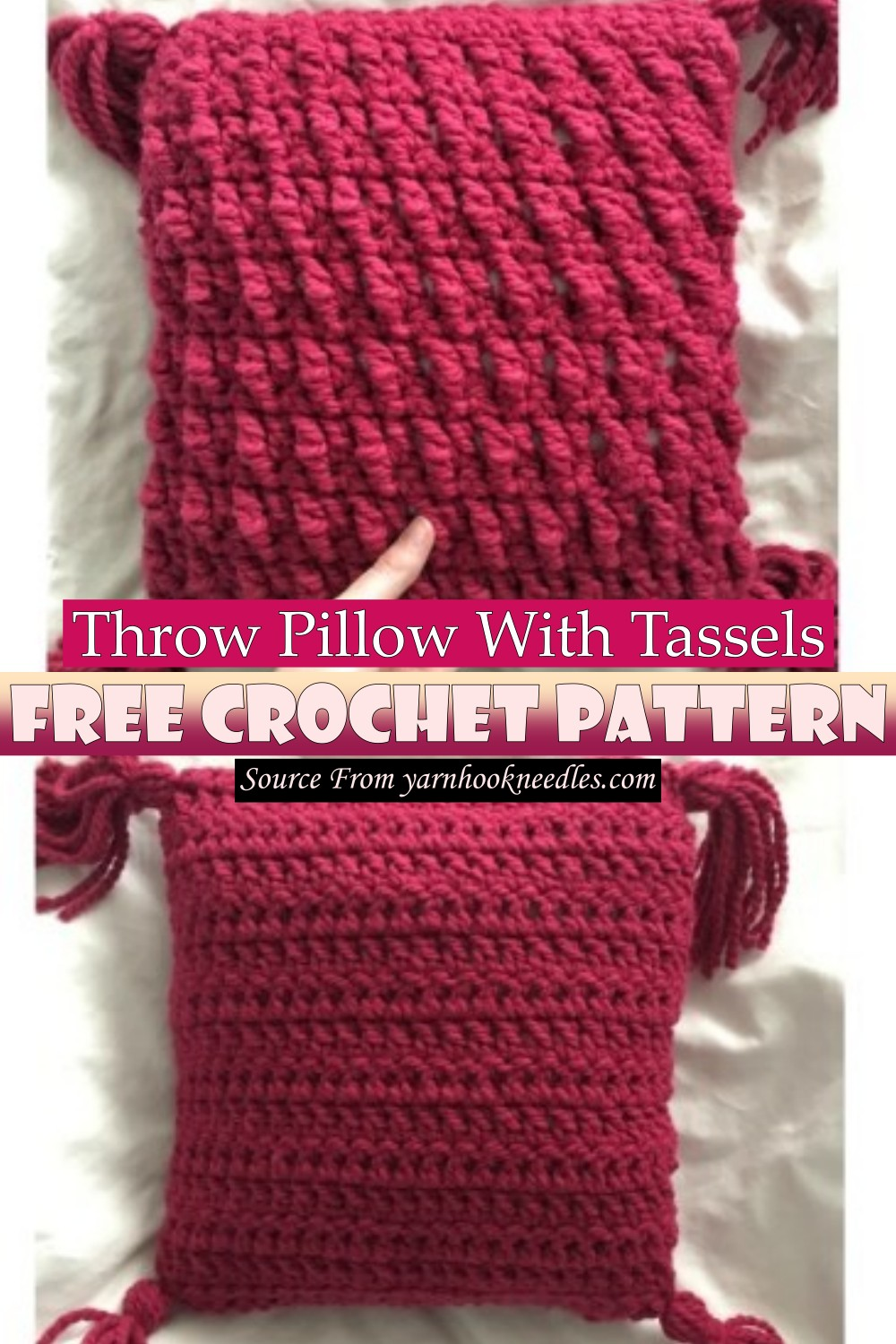 Free Crochet Throw Pillow With Tassels Pattern